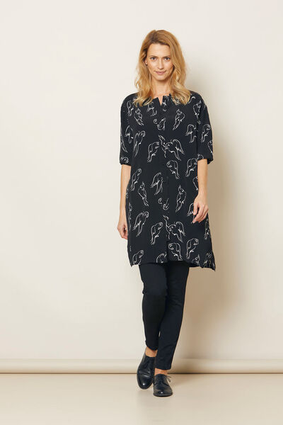 NAELLE DRESS, Black, hi-res