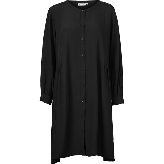 NELLY SHIRT DRESS, BLACK, hi-res