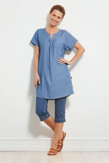 HADEEN TUNIC, LIGHT DENIM, hi-res